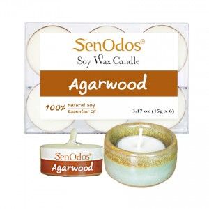 Tealight Set Agarwood Soy Candles + Candle Holder Set