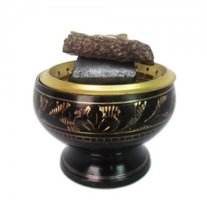 Brass Charcoal Burner Incense Pot (Color:Black-Gold)